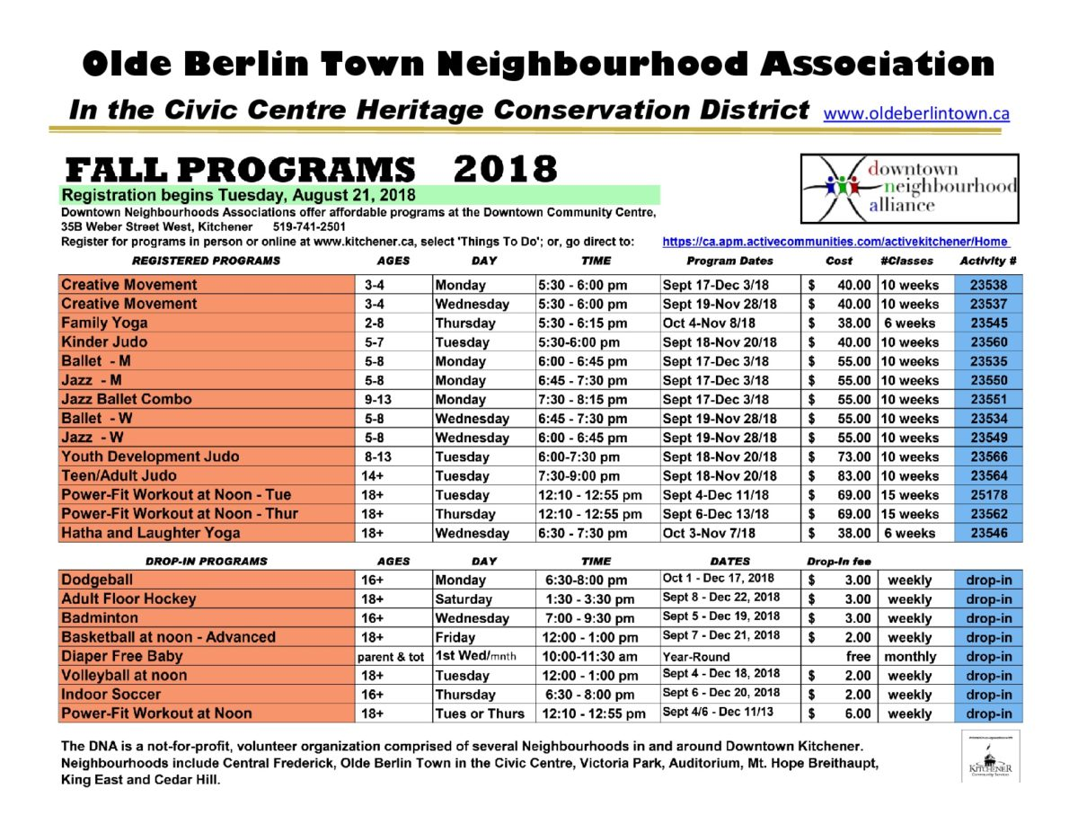 Community Programs Schedule Fall 2018