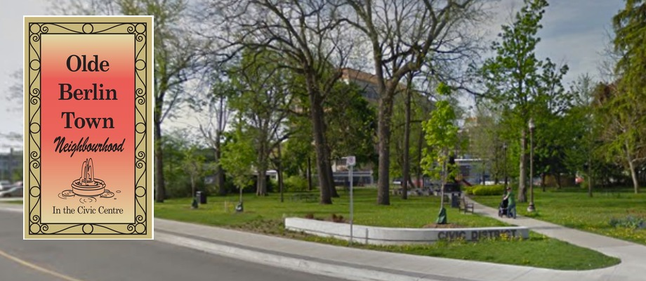 Landing page showing photo of Civic Centre Park Kitchener Ontario in Olde Berlin Town Neighbourhood