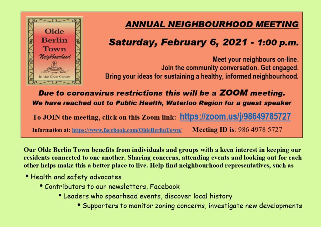 Poster for annual neighbourhood association meeting on Saturday, February 6, 2021 at 1:00 pm by Zoom link. Meeting ID is 98649785727